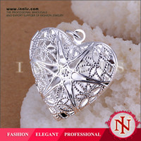 Wholesale 2014 new silver plated pendants necklace Heart shaped photo frame network manufacturers silver pendant jewelry fashion