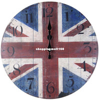 Quartz Analog 0.02 H3314 European retro British flag mute wall clock quartz clock movement to do the old hall cafe decorations free shipping