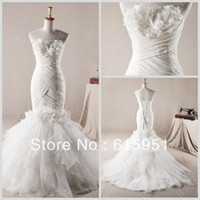 Other Reference Images Sweetheart Real model strapless handmade flower appliqued ruched mermaid white organza bridal gown wedding dress JY626