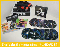 Cheap Professional Body Building Shaun T's Workout Set T25 14 DVD Focus MIB With Band Slimming Fitness Teaching Vifeo Home Body Exercise DVD