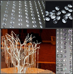 Wholesale New Wedding Party Decoration Clear Acrylic Crystal Octagonal Bead Curtain Garland Strands DIY Craft Christmas Tree Hanging Ornament