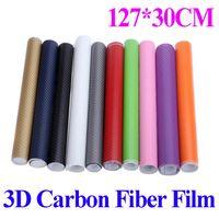 Wholesale 127 CM D Carbon Fiber Film Vinyl Sticker Car Body Interior Decoration Purple Pink Red Green Grey Golden Black Blue White