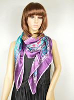 Wholesale New Arrival cm Fashion Hot Sale New Style Blue Purple Satin Silk Scarf Printed Big Square Scarf Wraps