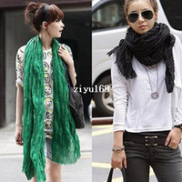 Wholesale 2014 Winter American and Europe hottest women fashion solid cotton voile warm soft scarf shawl cape colors available