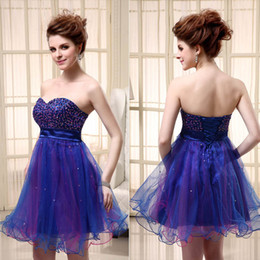 Wholesale 2014 Classic Cheap Cute Graduation Dresses Mini Tulle Beading Sweetheart Lace Up Short Prom Dress Girls th Homecoming Dress Gowns for Party
