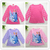Summer frozen tshirt - 15pcs Frozen Long Sleeve Tshirts Children clothing Cartoon Anna Elsa Tops Tees Kids Clothes Snowflake Queen Tshirt Top Child Kid D2535