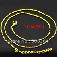 """Pendant Necklaces Fashion Necklaces Free Shipping 10 Pcs Gold Plated Ball Beads Chain Necklace 41cm(16"""")(W01774 X 1)"""