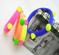 Wholesale Fashion Soft Neon Rivet Elastic Hair Rubber Bands Cotton Hair Elastic Ponytail Holders For Girl Jewelry Hair Accessories