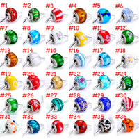 Wholesale 100pcs Brand New Mix Styles Glass stering cord big hole loose beads fit European pandora jewelry Diy bracelet charms