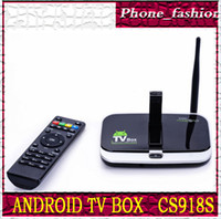Wholesale CS918S Smart Android TV BOX Quad Core Android A31 GB DDR3 GB ROM With Bluetooth MP Webcam Microphone WIFI Display XBMC F10