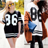 Women Polo Cotton,Spandex Women Summer Celeb Style Oversized 86 Print Baseball Tee T-shirt Short Sleeve Top College Loose Dress Black M-XL #4 SV002967