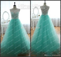 Reference Images Scoop Organza Pageant dresses teens 2014 A Line See Through Lace Hunter Crew Neckline Sleeveless s Floor Length Formal Evening Dresses JZ009