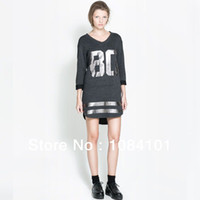 Casual Dresses V_Neck A Line New 2014 Fashion Womens Celebrity Oversized 86 77 American Baseball Tee T- Top Varsity Short Sleeve Loose Dress Black White