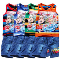 Cheap 2014 summer Despicable ME boys set baby suits children clothing set baby clothes short-sleeve T-shirt +pant jeans kids suit free,shipiing
