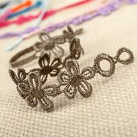 venda por atacado italian bracelet-Amizade pulseira estilo italiano de malha laço bracelete 5 flores laço bracelete italiano CR08
