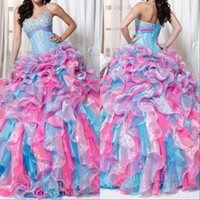Wholesale XD New Fashion Mix Color Masquerade Ball Gowns Sweet Dresses With Sweetheart Unique15 Birthday Quinceanera Dresses Plus Size
