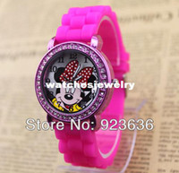 Sport Unisex Water Resistant Wholesale-fashion minnie mickey mouse girls Ladies women crystal Watch kids children cartoon silicone sport watches Free shipping