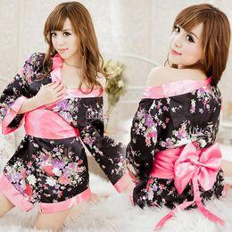 Wholesale 2014 East Knitting Sexy Lingerie Kimono Dress Dress G string Band Set Sleepwear Underwear Uniform Kimono Costume b9 SV001213