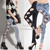 Wholesale P28 New Arrival Celebrity Style Low rise Hipster Crop Acid Wash Cut Out Bows Skinny Jeans Plus Size