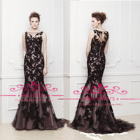 Wholesale 2015 Mermaid Evening Dresses with Black Lace Appliques Sheer Tulle Sleeveless Formal Party Women Prom Gowns CPS015