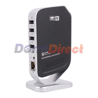1 Port Wired Yes High Quality Hot 4 Ports Networking USB 2.0 Print Server Printer Share 4 USB HUB Devices HDD Webcam Scanner 100Mbps