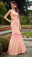 Reference Images Spaghetti Straps Chiffon In stock prom dress with straps pleat ruched bodice mermaid Long Floor length Bridesmaid party evening dresses CPS018