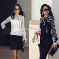 Women women's polo shirts - Women s Spring T shirt New Fashion Clothing For Ladies Polo Blouse Stripe Casual Long Puss Sleeve Tops