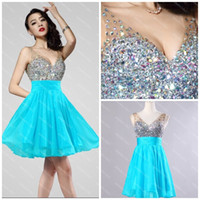 Real Photos V-Neck Chiffon Mini Cocktail Dresses Sexy V-neck 2014-2015 Hunter Chiffon Shiny Sequined Crystals Short Homecoming Real Images Photos Cheap Gorgeous New