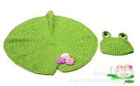 Wholesale Korean children photography clothing personality style personality lotus infant sleep blanket cute frog hat