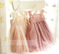 al por mayor niñas velo vestido de verano-Vintage bebé niñas niños verano vestidos de tirantes encaje niveles velo vestido Adorable Ballet chaleco vestido bastante fiesta vestido 8536