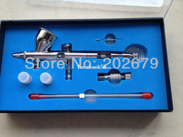 Wholesale New Spray DUAL ACTION Nail Airbrush Kit Gun Paint Adjustable mm nozzle with mm mm nozzle