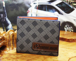 2014 New Designer Luxury High Quality ,Fashion Design Grid Leather Men's Wallet Purse Free Shipping 1274-1