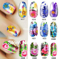 Decal water nail decals - Nail Beauty Nature Colorful Flower Diy Nail Art Polish Foils Decal Stickers Tips Wraps Decoration Water Transfers piece