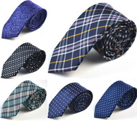 Wholesale NEW CM Mens Pattern Necktie Neck Ties Navy Blue White Plaid Ties Fashion Accessories