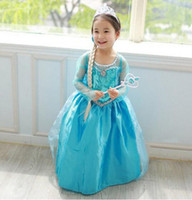 Wholesale New Hot Frozen Elsa Anna Summer Dresses Girl Princess Dresses blue cloak dress Brand Girls Children kids Clothing