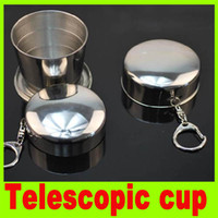 Wholesale Stainless Steel Portable Mini Travel Retractable Cup Keychain Telescopic cups for camping Travel water Cup Collapsible Folding Mug A19H