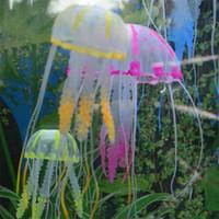 Wholesale New Cute Fluorescent Artificial Jellyfish Decoration Glowing Effect for Aquarium Fish Tank Ornament Bath Decor pink