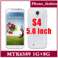Wholesale MTK6589 S4 Android Quad core G Cell phone quot IPS Screen x pixels Ghz Smart Phone i9500 unlocked G RAM G ROM