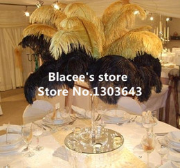 Wholesale prices quot quot inches length black or golden ostrich feathers for wedding decor or table decor