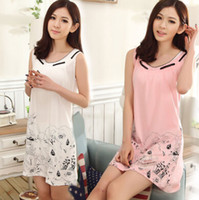 cotton nightgown - Female nightgown girl summer cotton vest sexy summer pajamas cute condole belt cotton nightgown cotton household to take