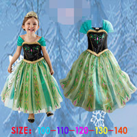 Wholesale 2014 New Fashion Summer Baby Girl Child Kids Party Short Sleeve Frozen Princess Elsa Anna Costume Showing Perform Flower Dress H0140702