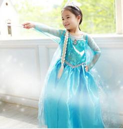Wholesale 2014 NewFashion Summer Baby Girl Child Kid Party Long Sleeve Snow Frozen Princess Elsa Anna Vestido Cosplay Formal Fantasia Dress H0140703