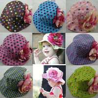 Girl Summer Visor New Design Summer children Sun hats !!! (7 Color ) Dot big flowers girls sun hat Children Bucket Hats caps Fisherman hat Free shipping