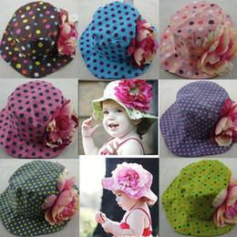 Wholesale New Design Summer children Sun hats Color Dot big flowers girls sun hat Children Bucket Hats caps Fisherman hat