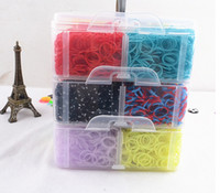 Cheap Rainbow loom in Europe and the rainbow loom bracelet woven elastic 3 layer medium plastic box family suits 5box