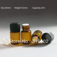 Wholesale X ML Amber Empty Mini Glass Bottle With Insert CC Screw Neck Sample Vials With Black Cap