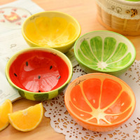 Wholesale Lovely Fruit Design Ceramic Bowls Color Children Ice Cream Bowls Pudding Mold Creative Dinnerware SH649