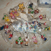 Multicolor PVC Key Wholesale-free shipping Super Mario pvc figure cell phone strap mix order 80pcs b1049