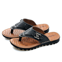 Wholesale 2014 Brand mens sandals slippers genuine leather cowhide sandals outdoor casual men leather sandals for men