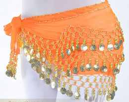 Wholesale 13Colors Rows Gold or silver Coins Belly Egypt Dance Hip Skirt Scarf Wrap Belt Costume Christmas sports Dancing pink red black YH047